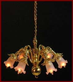 Dolls house chandeliers cl6039 six arm chandelier frosted tulip shade aloadofball Image collections